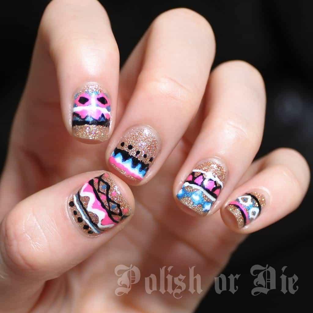 favorite tribal Aztec nail art