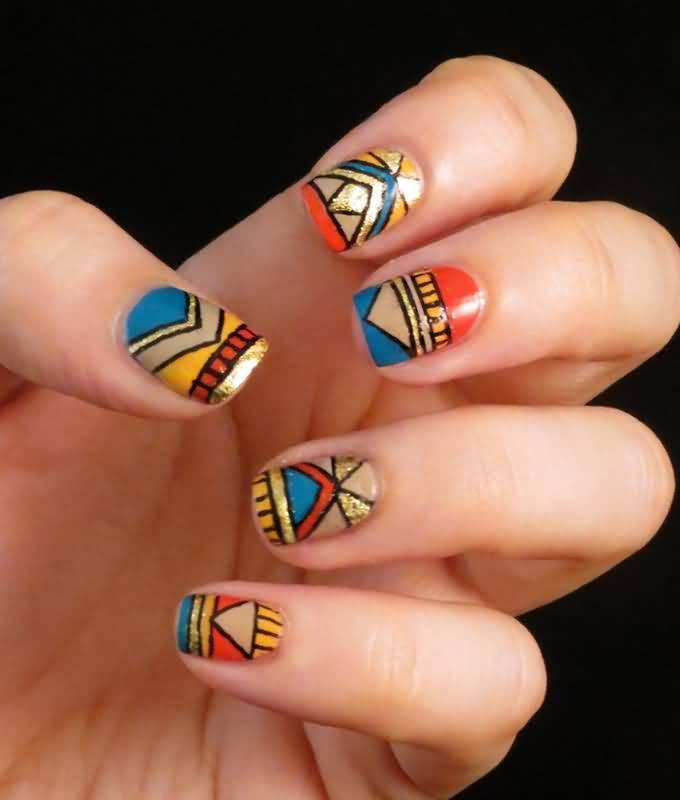 Ethnic Pride Nail Design for girl
