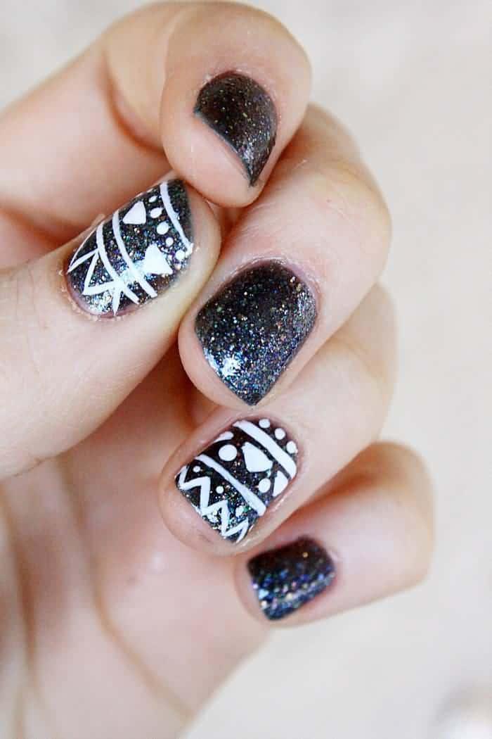 Tribal Glitter Nail Design nail art for women