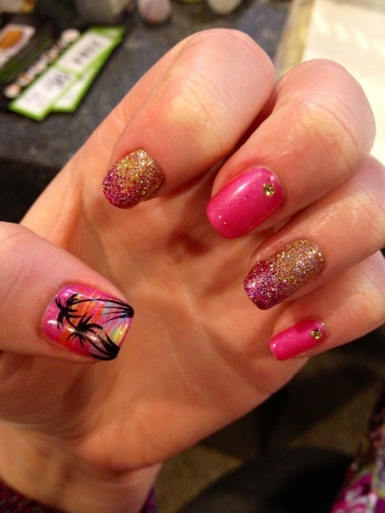 Hot Pink tropical nail art for women
