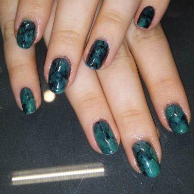 black turquoise nail design