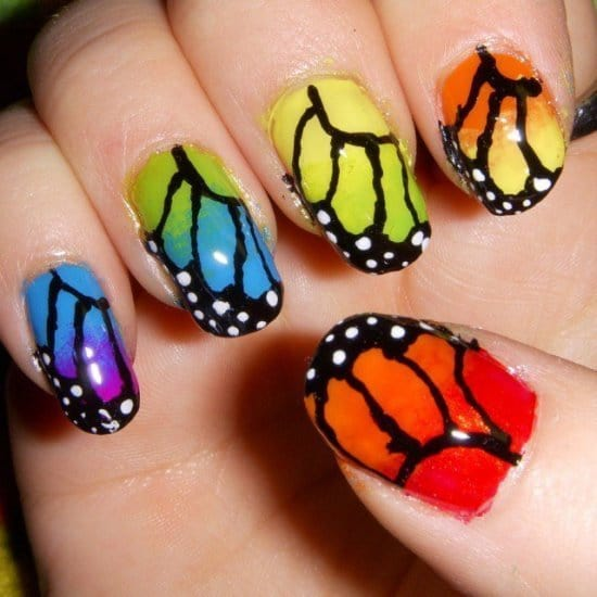turquoise & butterfly nail designs 1
