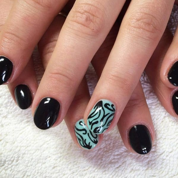 turquoise & butterfly nail designs 10