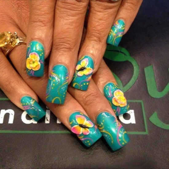 turquoise & butterfly nail designs 13