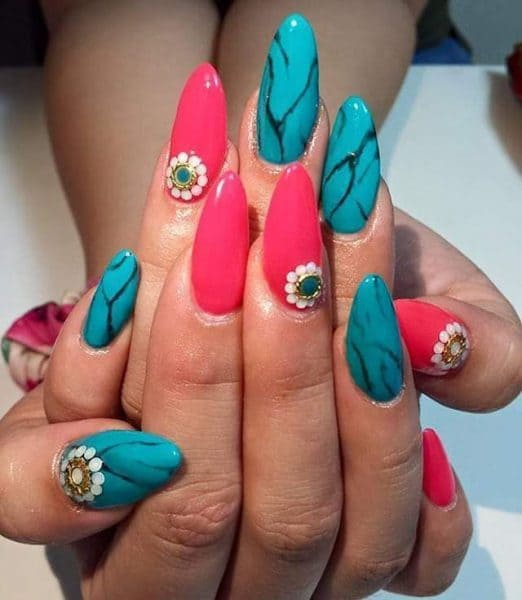 turquoise & butterfly nail designs 14