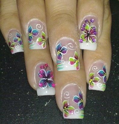 floral butterfly nail art