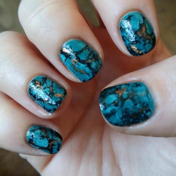 turquoise & butterfly nail designs 16