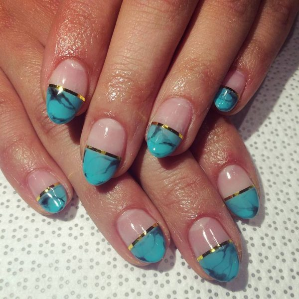 turquoise & butterfly nail designs 18