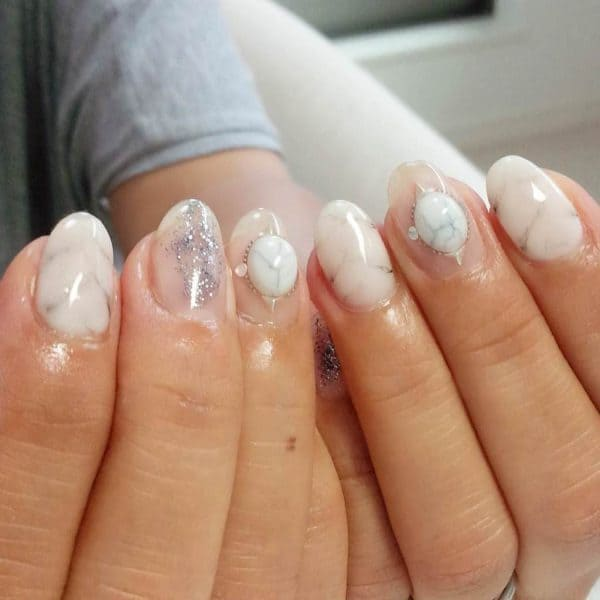 white young girl turquoise nail design