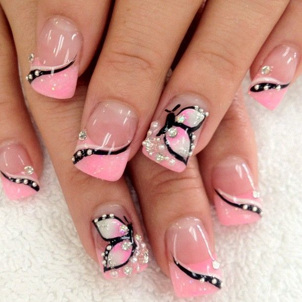 turquoise & butterfly nail designs 21
