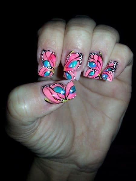 turquoise & butterfly nail designs 23