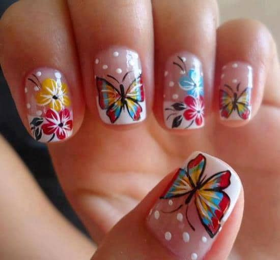 turquoise & butterfly nail designs 5