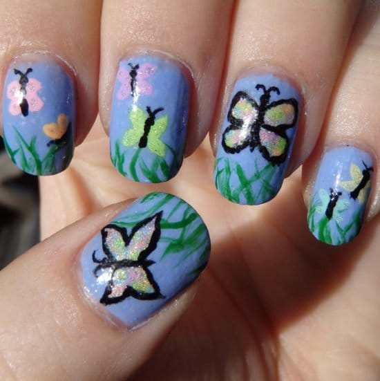 sky color butterfly nail art