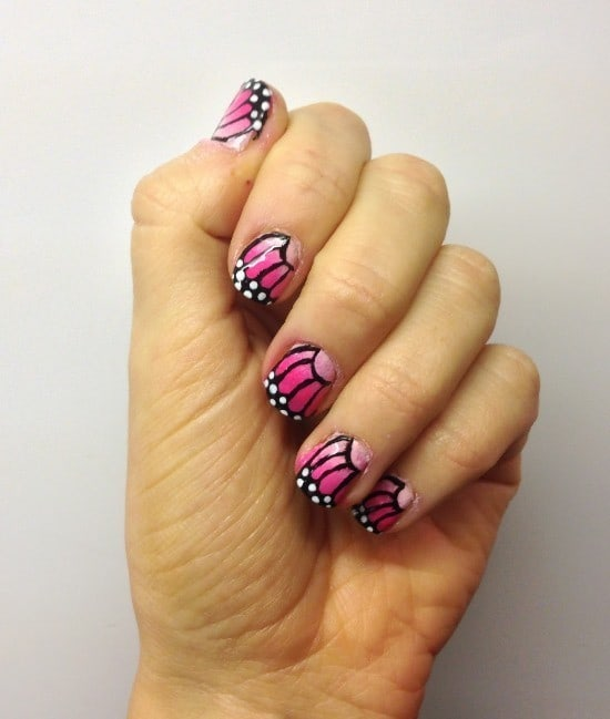 pinky butterfly nails