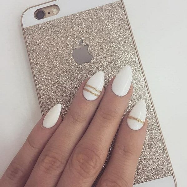 Single And Double Striped white and gold nail art