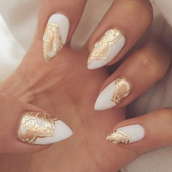 Golden Touched white and gold nail idea