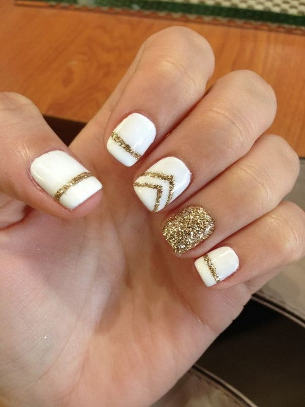 white and gold nail designs 4