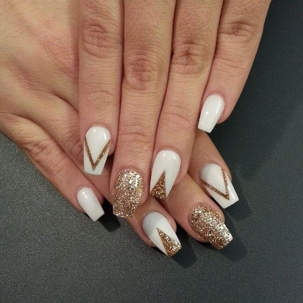 white and gold nail designs 6