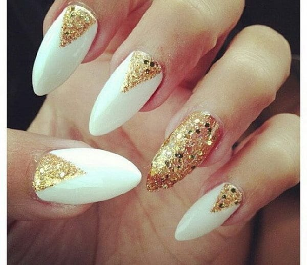 white and Holographic Gold nail