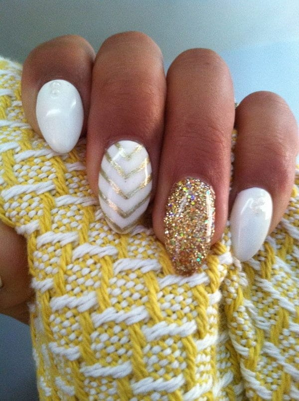 white and gold nail designs 9