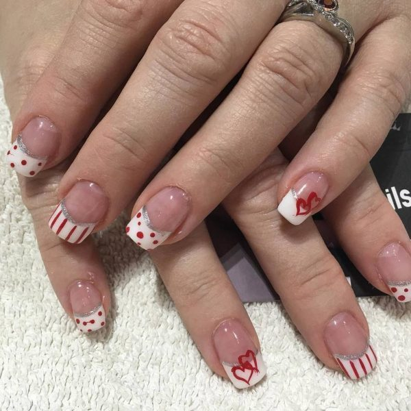 Valentines Day white tip nail designs for girl