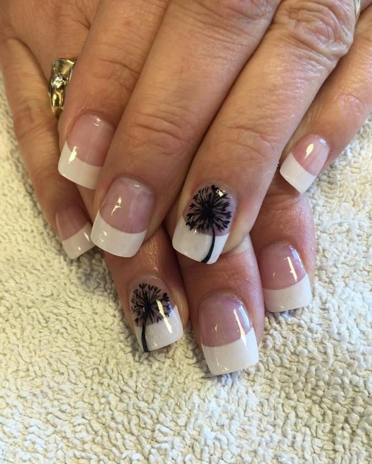 white Tree Shadow nail art