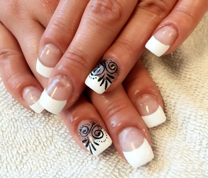 Black Trace white nail art for women - 10 Appealing White Tip Nail Designs - First Impression Counts