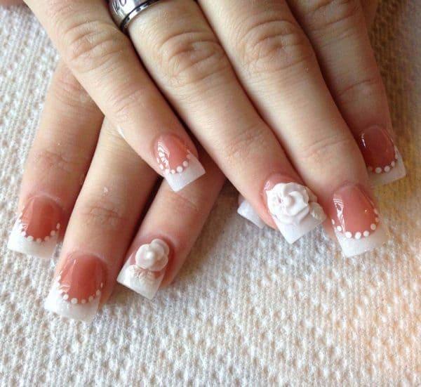 white flower nail idea