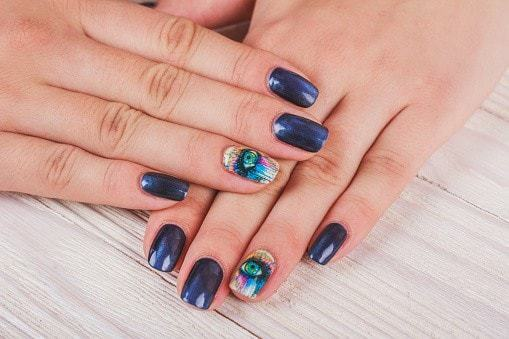 25 Most Delightful Black and Blue Nail Designs