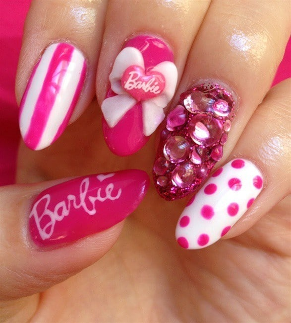 Barbie Pink Nails idea on your birthday