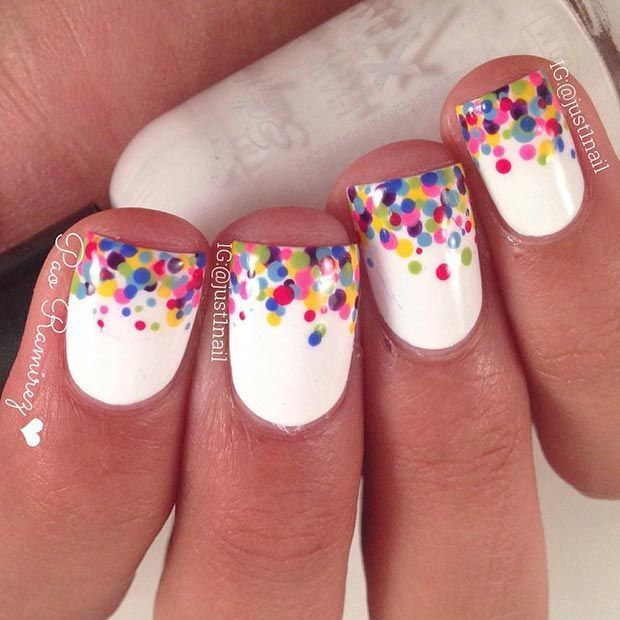 White And Polka Dots nail art for girl