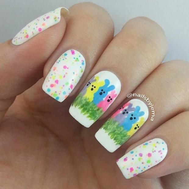 cute nail design with bunny