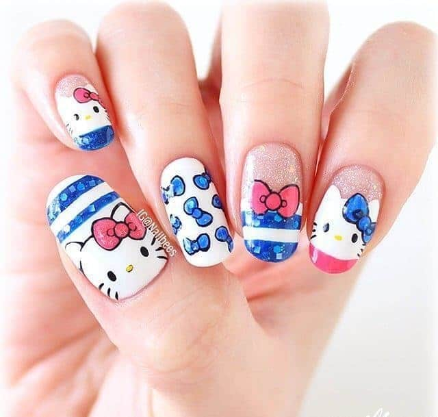 Kitty Tips beautiful Kitty Tips nail art - 20 Hello Kitty & Claw Nail Designs - Try The Trend
