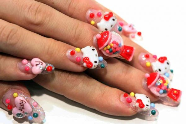 hello kitty & Claw nail designs