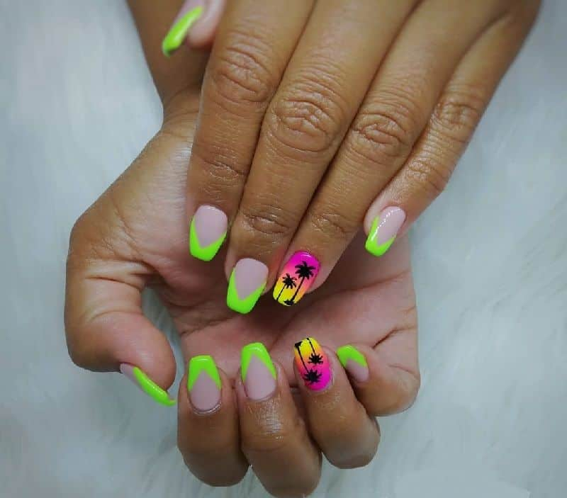 neon tropical nails