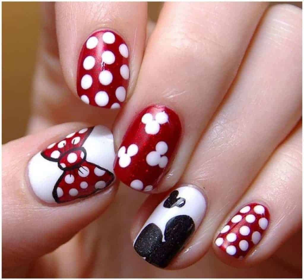 20 hottest spring nail designs to celebrate the season mickey mouse nail designs are great if you love that cartoon character they are the remembered cartoon characters in all places occasions and seasons prinsesfo Choice Image