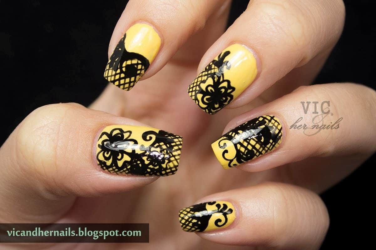 Yellow lace nail idea for women