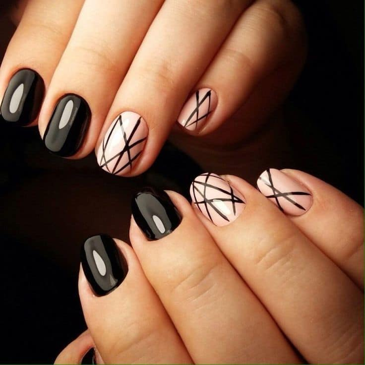 "Black and White line nails. "" - 20 Alluring Line Nail Designs To Try – NailDesignCode"