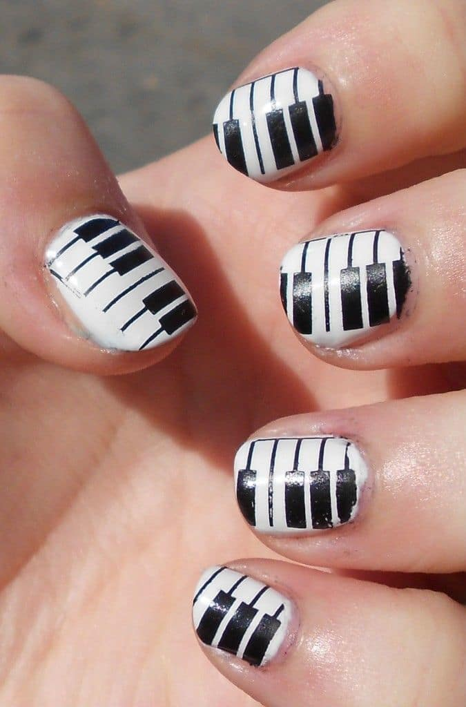 Classic music nail art for women