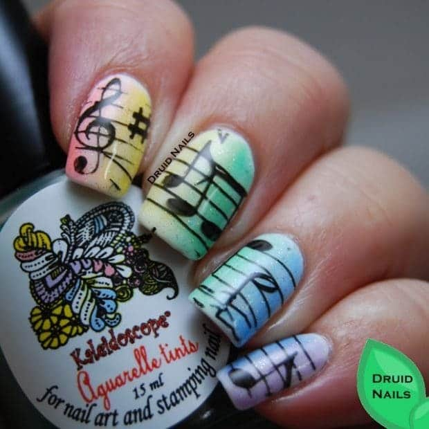 light color music note nail idea