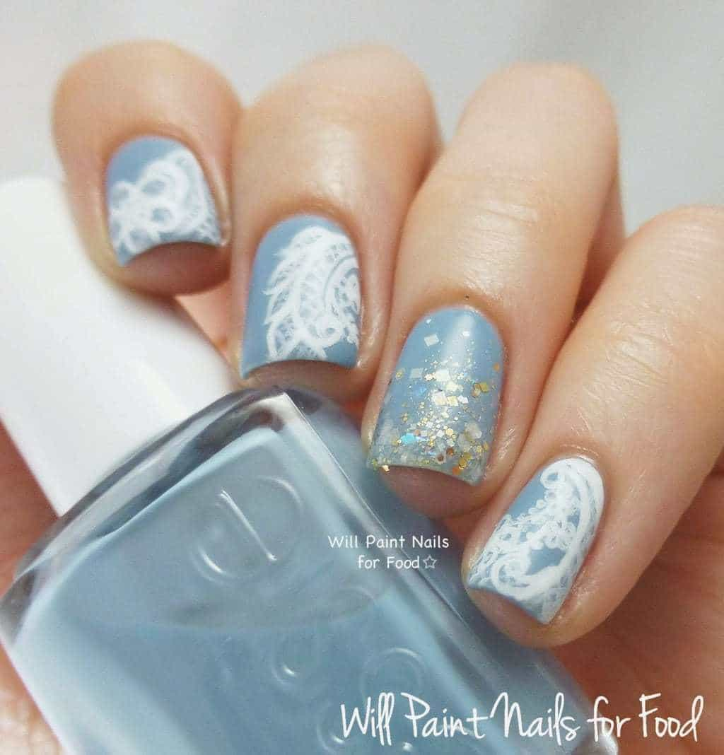 Blue lace nail idea