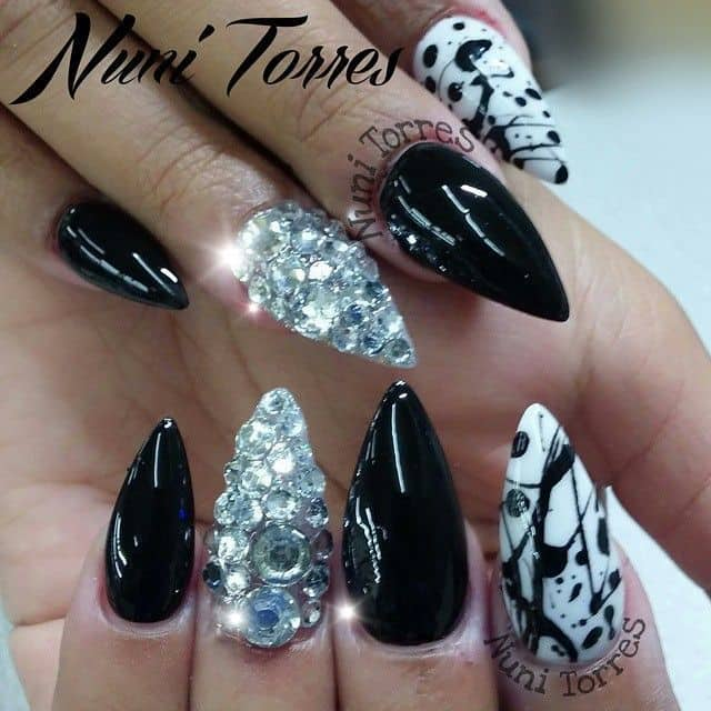Monochrome Bling Nail designs