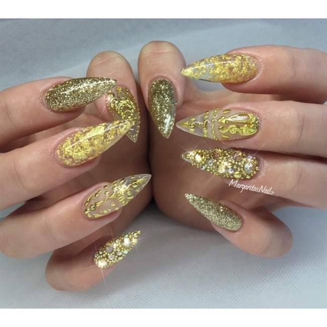 jewelled long nails