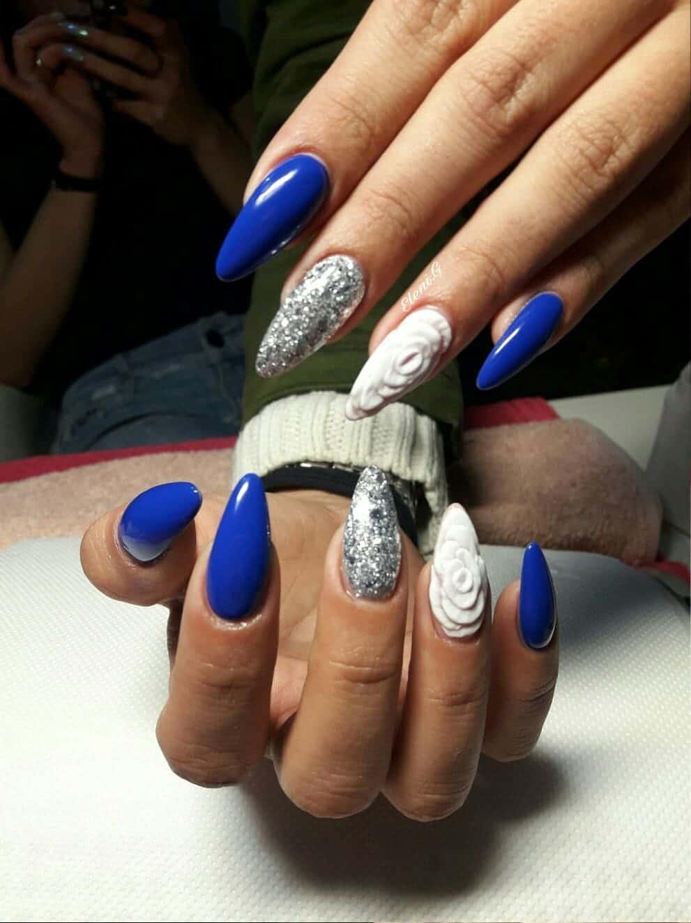 Blue White Almond Nail art for girl