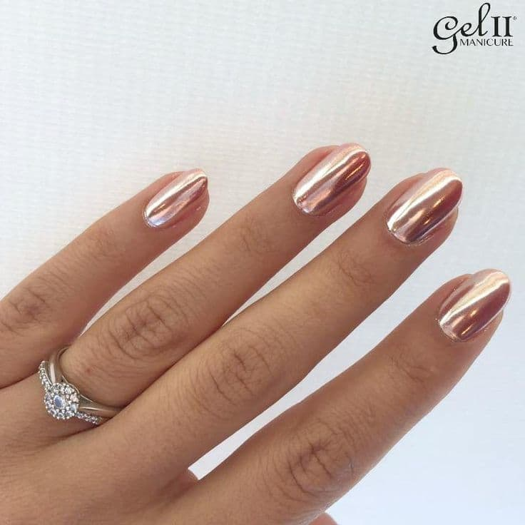 Rose Gold Painted Oval Nails