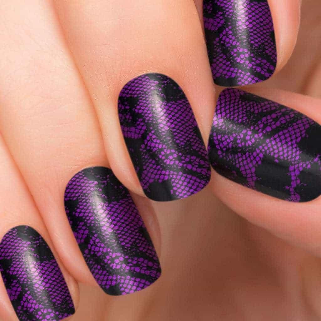 Purple color lace nail idea for women