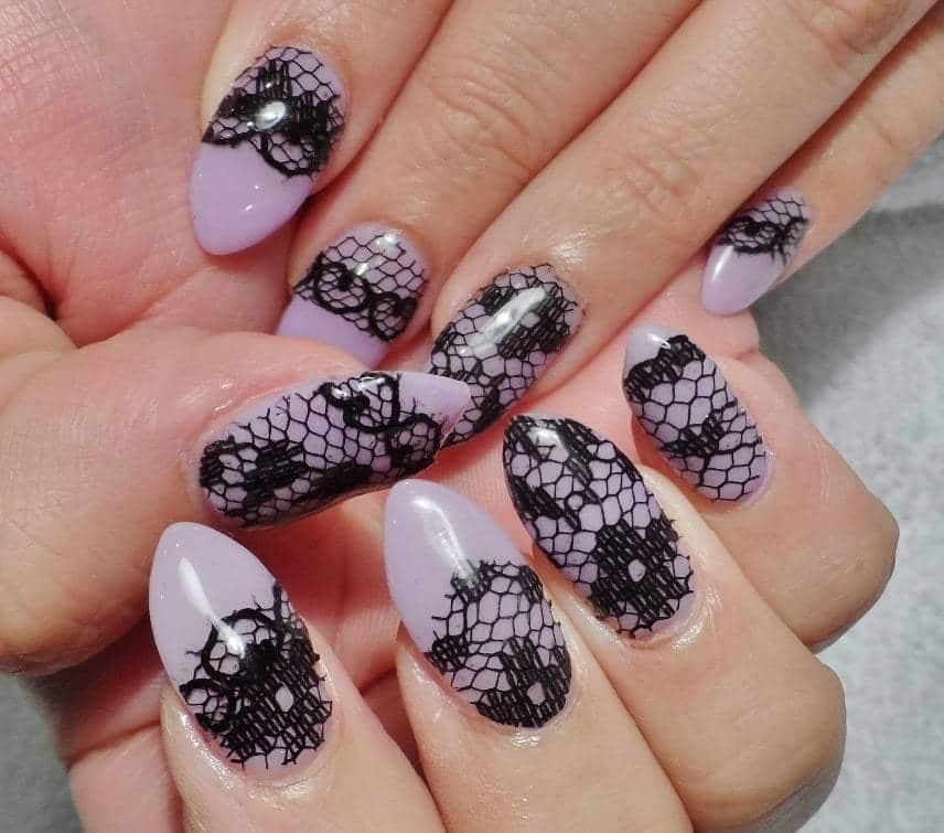 Purple Lace nail idea