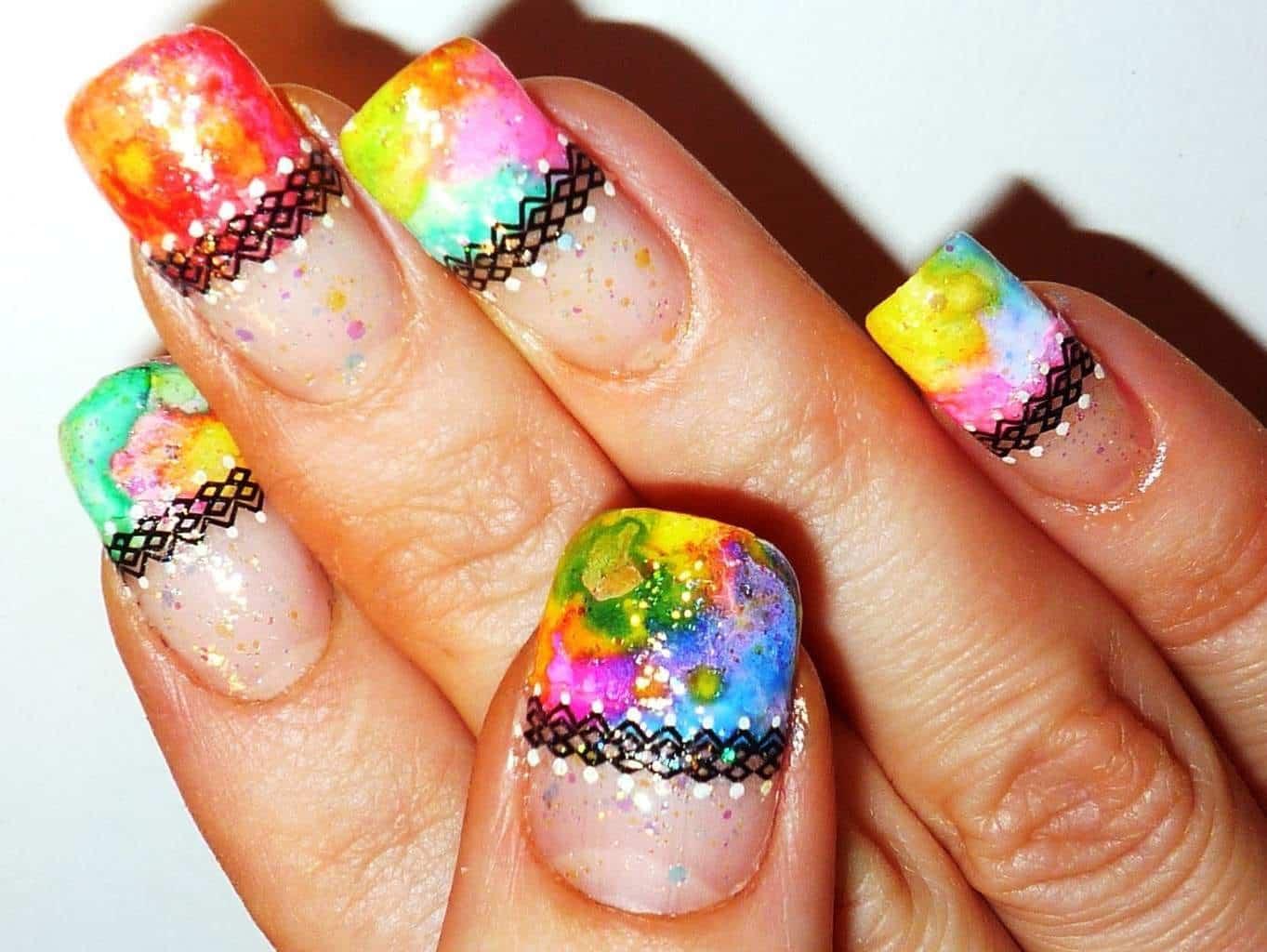 Rainbow Lace Nail idea for girl