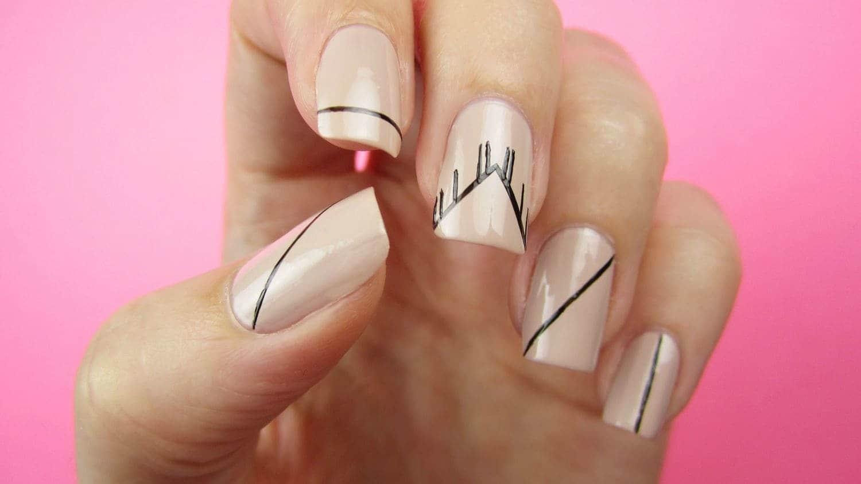 Pink Line Nail Art
