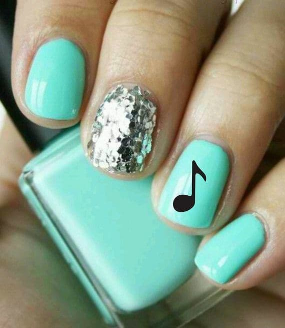 green color music nail design